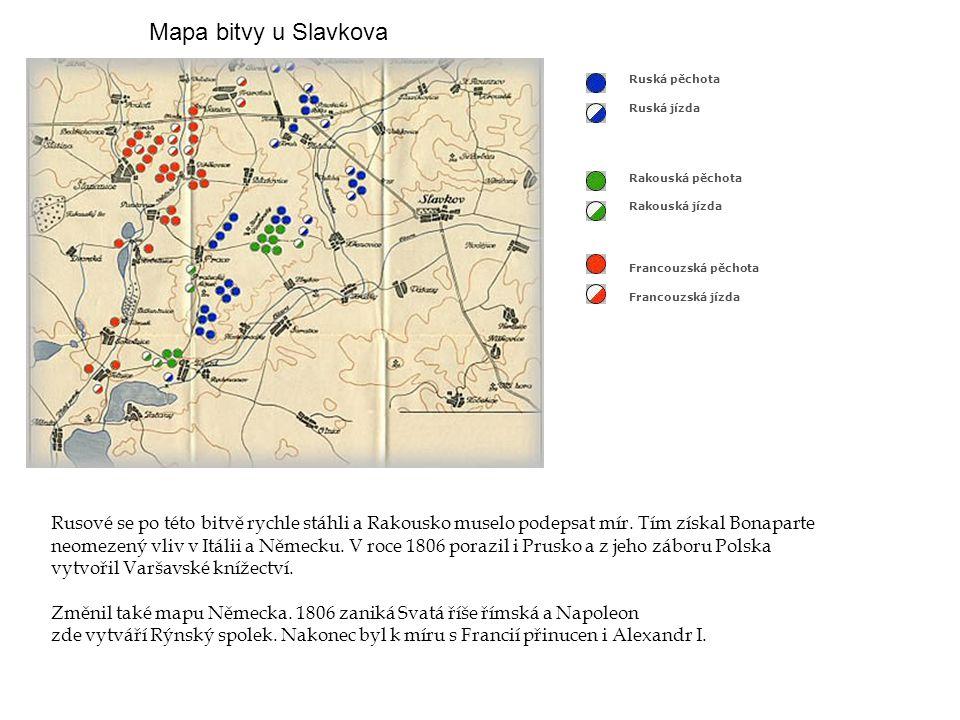 Mapa bitvy u Slavkova Francouzská pěchota Francouzská jízda Rakouská pěchota Rakouská jízda Ruská pěchota Ruská jízda Rusové se po této bitvě rychle s