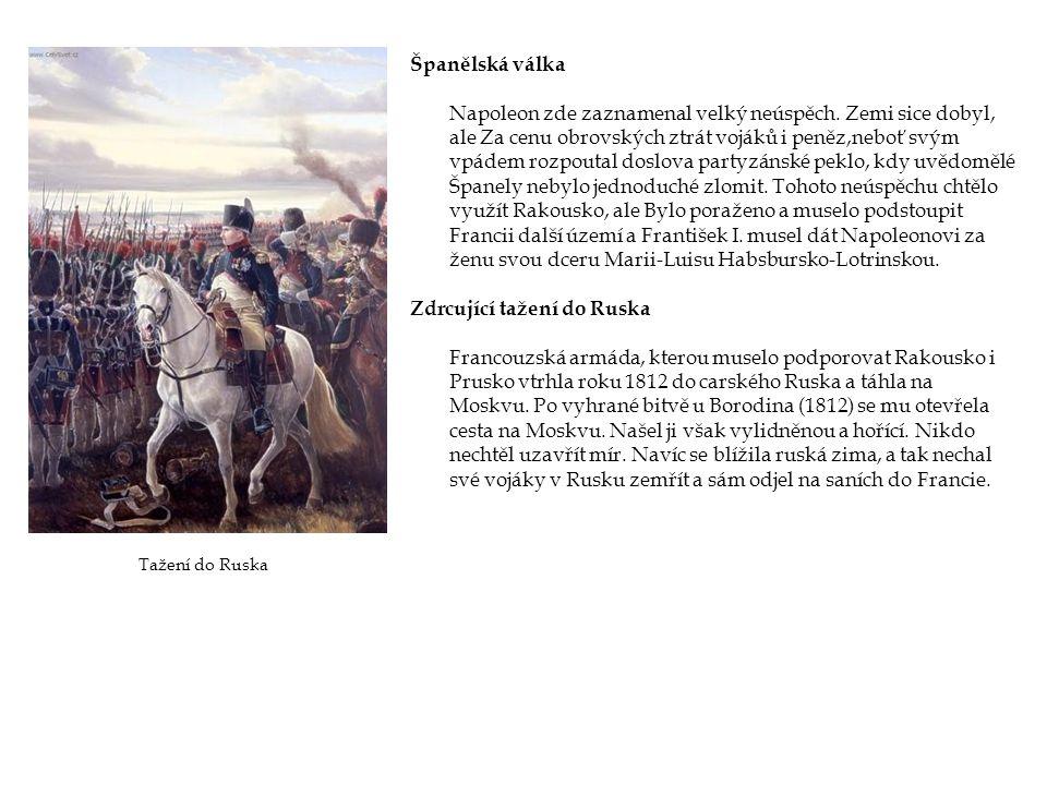Španělská válka Napoleon zde zaznamenal velký neúspěch. Zemi sice dobyl, ale Za cenu obrovských ztrát vojáků i peněz,neboť svým vpádem rozpoutal doslo