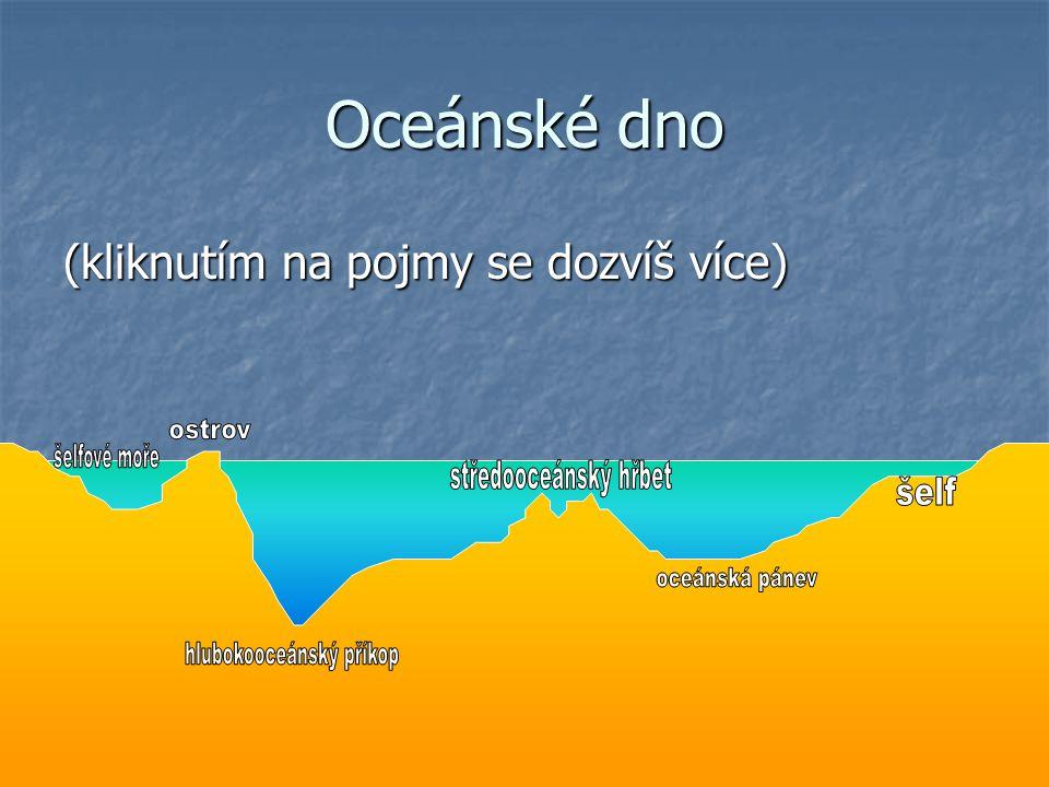 Šelf = zatopený okraj pevniny (na mapě poznáme podle světlé barvy) •složen z pevninské zemské kůry (průměrná tloušťka 35 km)