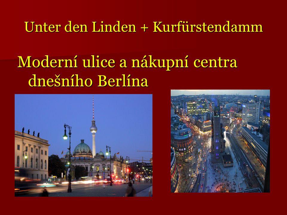 Unter den Linden + Kurfürstendamm Moderní ulice a nákupní centra dnešního Berlína