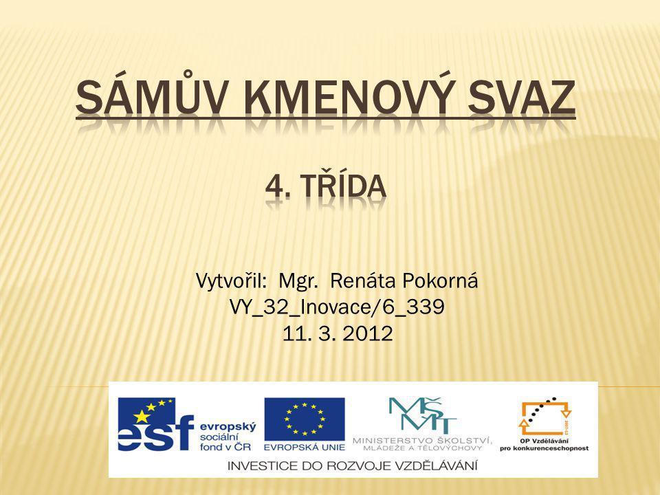 Vytvořil: Mgr. Renáta Pokorná VY_32_Inovace/6_339 11. 3. 2012
