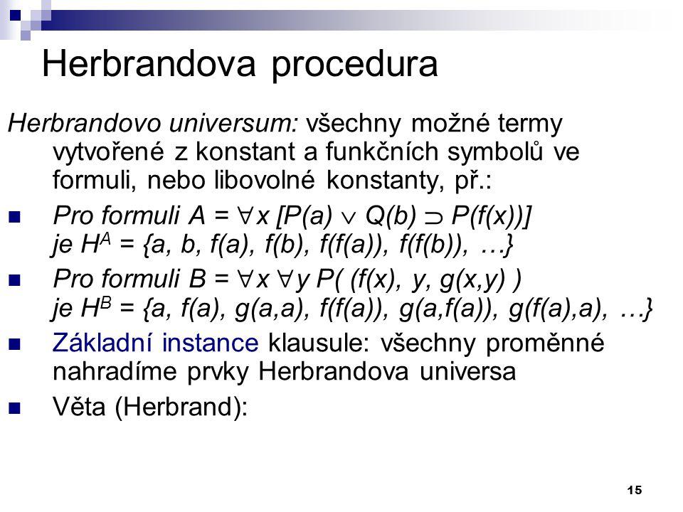 15 Herbrandova procedura Herbrandovo universum: všechny možné termy vytvořené z konstant a funkčních symbolů ve formuli, nebo libovolné konstanty, př.:  Pro formuli A =  x [P(a)  Q(b)  P(f(x))] je H A = {a, b, f(a), f(b), f(f(a)), f(f(b)), …}  Pro formuli B =  x  y P( (f(x), y, g(x,y) ) je H B = {a, f(a), g(a,a), f(f(a)), g(a,f(a)), g(f(a),a), …}  Základní instance klausule: všechny proměnné nahradíme prvky Herbrandova universa  Věta (Herbrand):