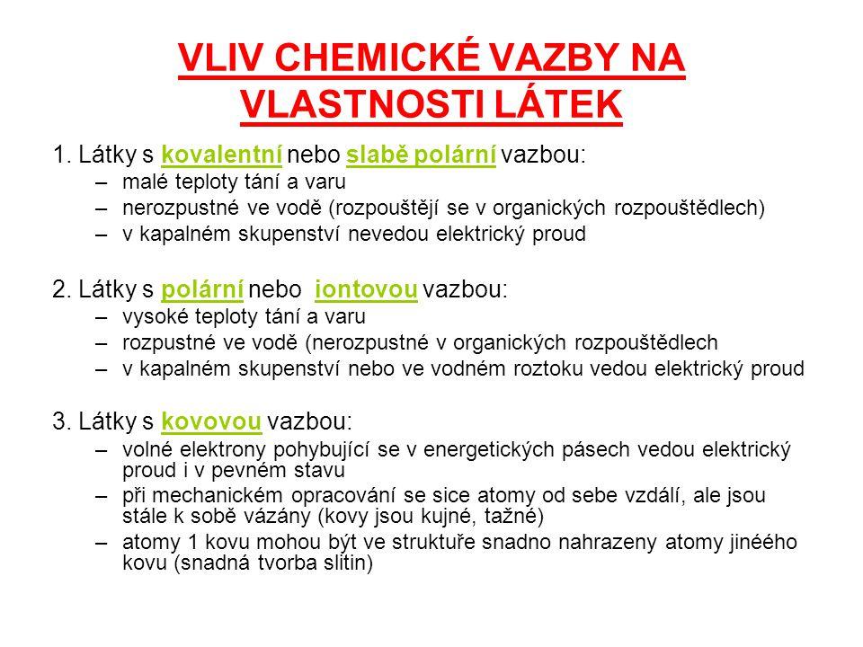VLIV CHEMICKÉ VAZBY NA VLASTNOSTI LÁTEK 1.
