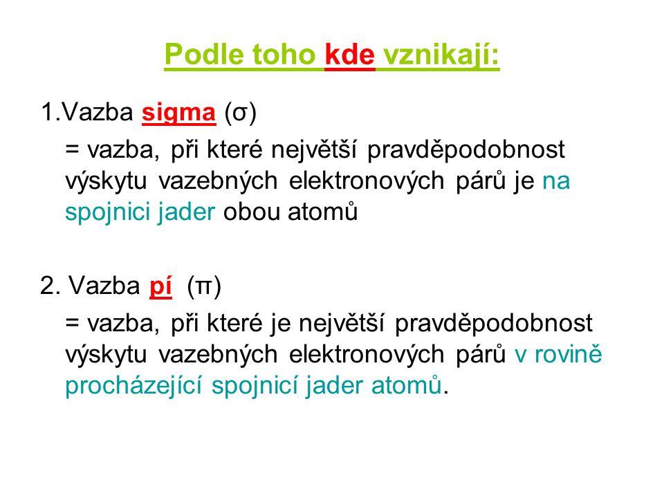 Podle toho kolik vzniká vazebných elektronových párů: 1.Vazba jednoduchá (př.