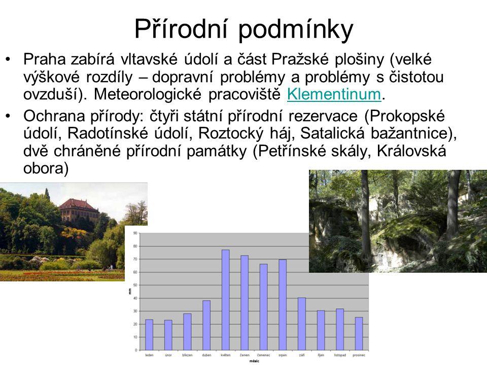 Přírodní podmínky •Praha zabírá vltavské údolí a část Pražské plošiny (velké výškové rozdíly – dopravní problémy a problémy s čistotou ovzduší). Meteo