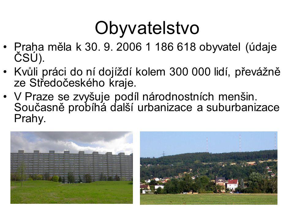 Obyvatelstvo •Praha měla k 30. 9. 2006 1 186 618 obyvatel (údaje ČSÚ). •Kvůli práci do ní dojíždí kolem 300 000 lidí, převážně ze Středočeského kraje.