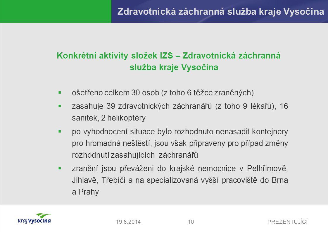 PREZENTUJÍCÍ1119.6.2014 Zdravotnická záchranná služba kraje Vysočina Překážky v práci zdravotnických záchranářů:  špatné počasí, jež způsobuje, že se k nehodě nemohou záchranáři ani zdravotníci dobře dostat  nemožnost on-line spojení s dispečinkem (pouze ze sanity)  panika v místě nehody  nemožnost průjezdu ke zraněným  kvalita dokumentace (špatná čitelnost visaček, resp.