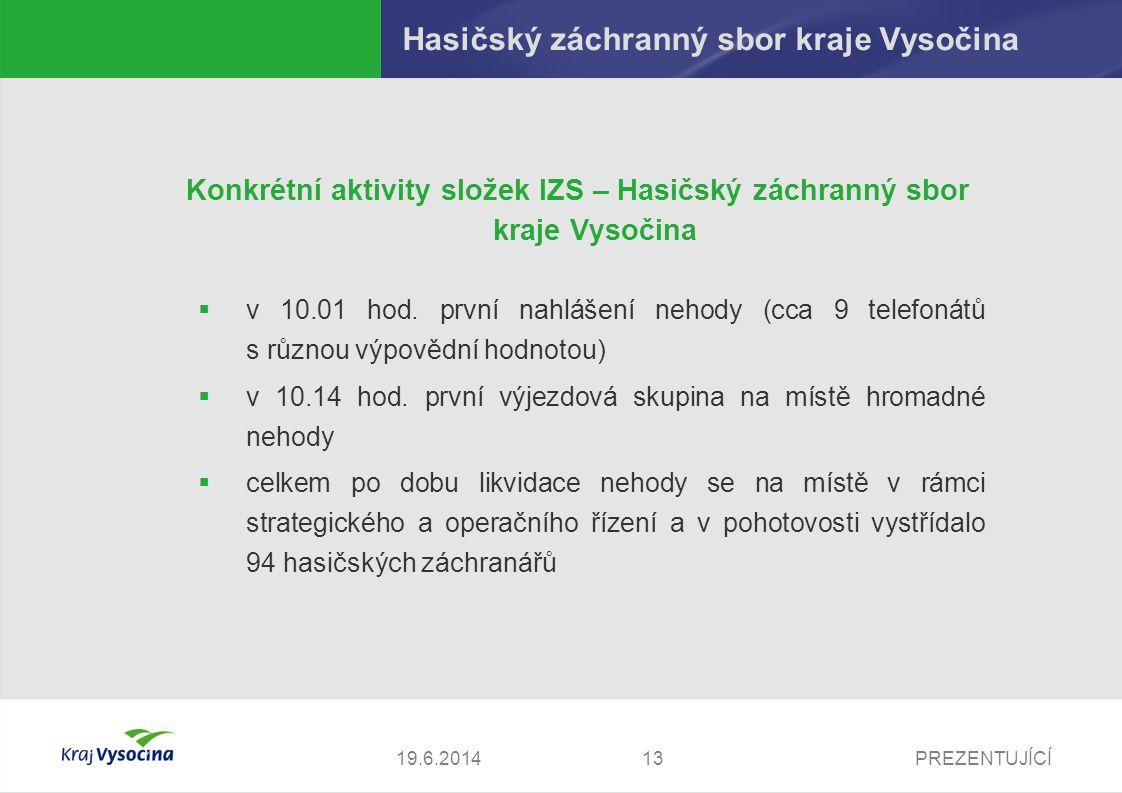 PREZENTUJÍCÍ1419.6.2014 Hasičský záchranný sbor kraje Vysočina Konkrétní aktivity složek IZS – Hasičský záchranný sbor kraje Vysočina  ještě před 12.00 hod.