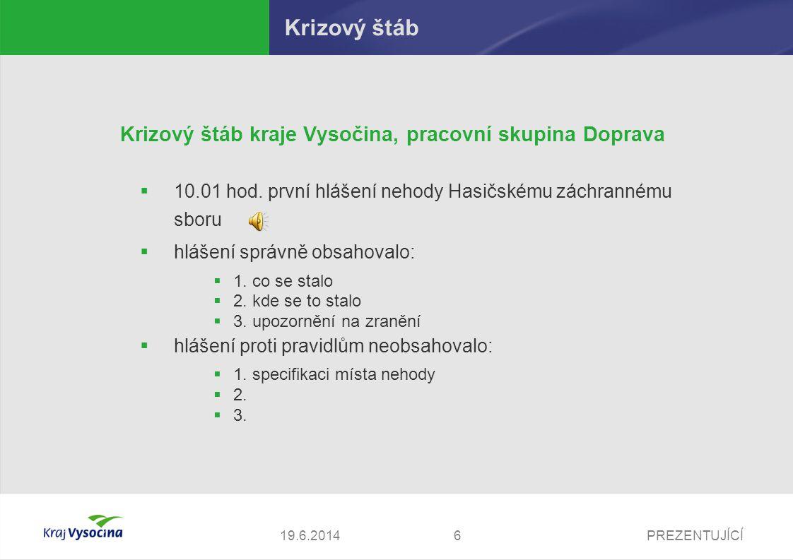 PREZENTUJÍCÍ719.6.2014 Krizový štáb Krizový štáb kraje Vysočina, pracovní skupina Doprava  co správně při hlášení nehody operátorovi sdělit.