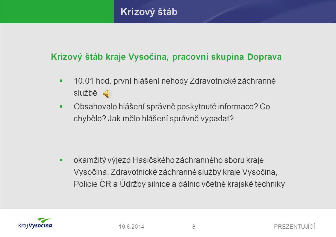 PREZENTUJÍCÍ919.6.2014 Zdravotnická záchranná služba kraje Vysočina Konkrétní aktivity složek IZS – Zdravotnická záchranná služba kraje Vysočina  v 10.24 hod.