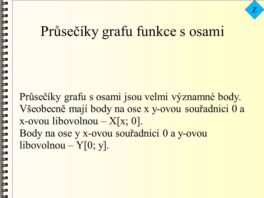 Průsečíky grafu funkce s osami Průsečíky grafu s osami jsou velmi významné body. Všeobecně mají body na ose x y-ovou souřadnici 0 a x-ovou libovolnou