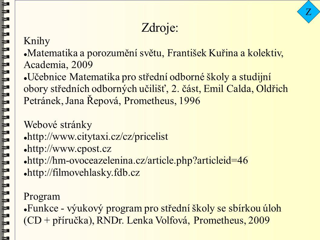 Zdroje: Knihy  Matematika a porozumění světu, František Kuřina a kolektiv, Academia, 2009  Učebnice Matematika pro střední odborné školy a studijní obory středních odborných učilišť, 2.