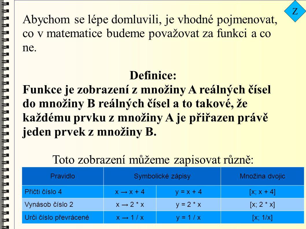 PravidloSymbolické zápisyMnožina dvojic Přičti číslo 4x → x + 4y = x + 4[x; x + 4] Vynásob číslo 2x → 2 * xy = 2 * x[x; 2 * x] Urči číslo převrácenéx → 1 / xy = 1 / x[x; 1/x] Abychom se lépe domluvili, je vhodné pojmenovat, co v matematice budeme považovat za funkci a co ne.