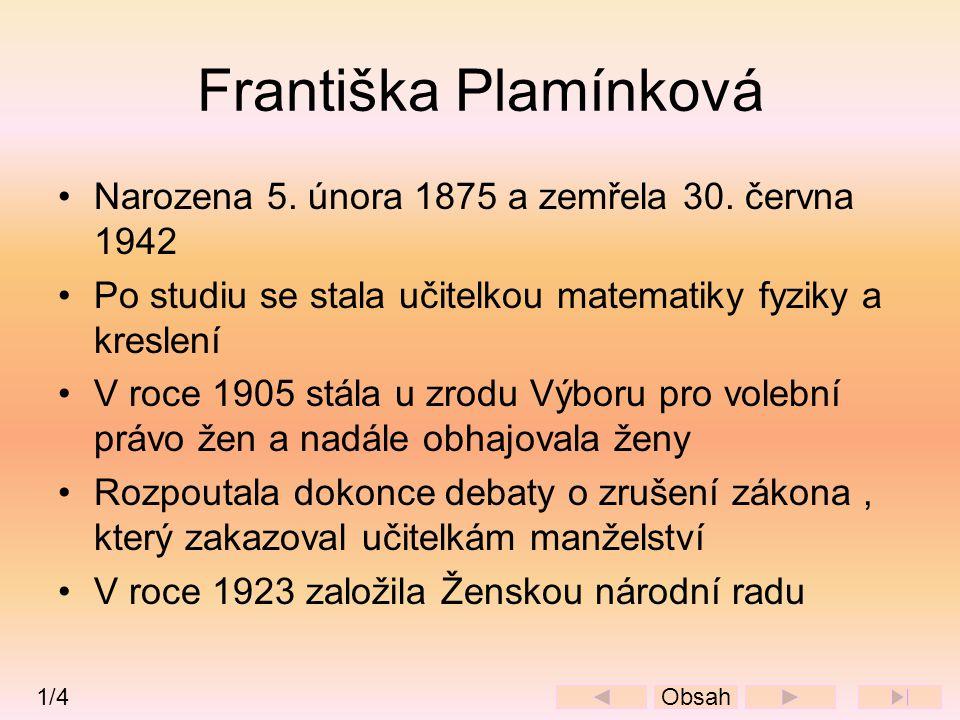 Františka Plamínková •Narozena 5. února 1875 a zemřela 30. června 1942 •Po studiu se stala učitelkou matematiky fyziky a kreslení •V roce 1905 stála u