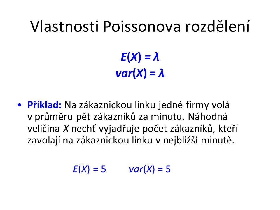 Vlastnosti Poissonova rozdělení E(X) = λ var(X) = λ •Příklad: Na zákaznickou linku jedné firmy volá v průměru pět zákazníků za minutu.