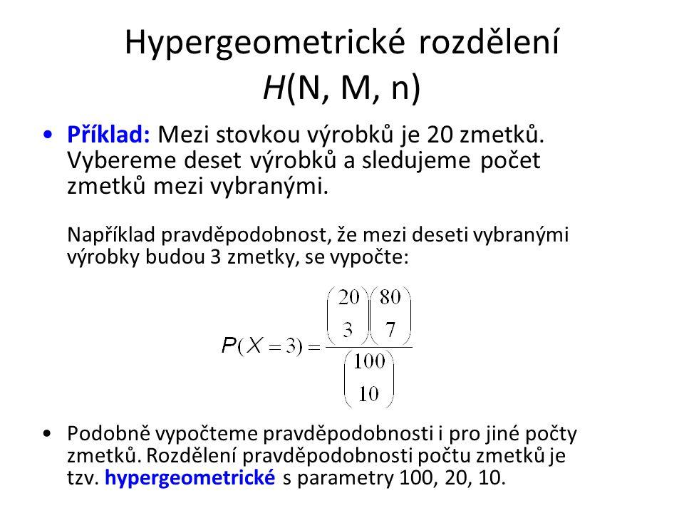 Hypergeometrické rozdělení H(N, M, n) •Příklad: Mezi stovkou výrobků je 20 zmetků. Vybereme deset výrobků a sledujeme počet zmetků mezi vybranými. Nap