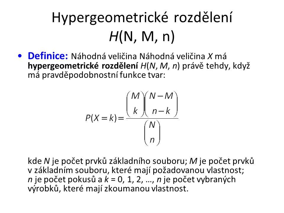 Hypergeometrické rozdělení H(N, M, n) •Definice: Náhodná veličina Náhodná veličina X má hypergeometrické rozdělení H(N, M, n) právě tehdy, když má pravděpodobnostní funkce tvar: kde N je počet prvků základního souboru; M je počet prvků v základním souboru, které mají požadovanou vlastnost; n je počet pokusů a k = 0, 1, 2, …, n je počet vybraných výrobků, které mají zkoumanou vlastnost.