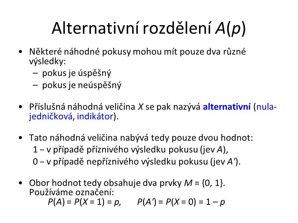 Alternativní rozdělení A(p) •Některé náhodné pokusy mohou mít pouze dva různé výsledky: –pokus je úspěšný –pokus je neúspěšný •Příslušná náhodná veličina X se pak nazývá alternativní (nula- jedničková, indikátor).