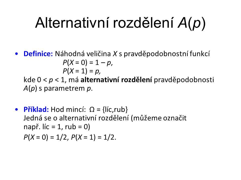 Alternativní rozdělení A(p) •Definice: Náhodná veličina X s pravděpodobnostní funkcí P(X = 0) = 1 – p, P(X = 1) = p, kde 0 < p < 1, má alternativní rozdělení pravděpodobnosti A(p) s parametrem p.