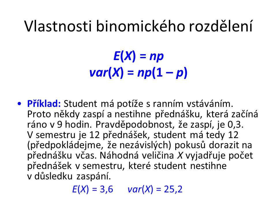 Vlastnosti binomického rozdělení E(X) = np var(X) = np(1 – p) •Příklad: Student má potíže s ranním vstáváním. Proto někdy zaspí a nestihne přednášku,
