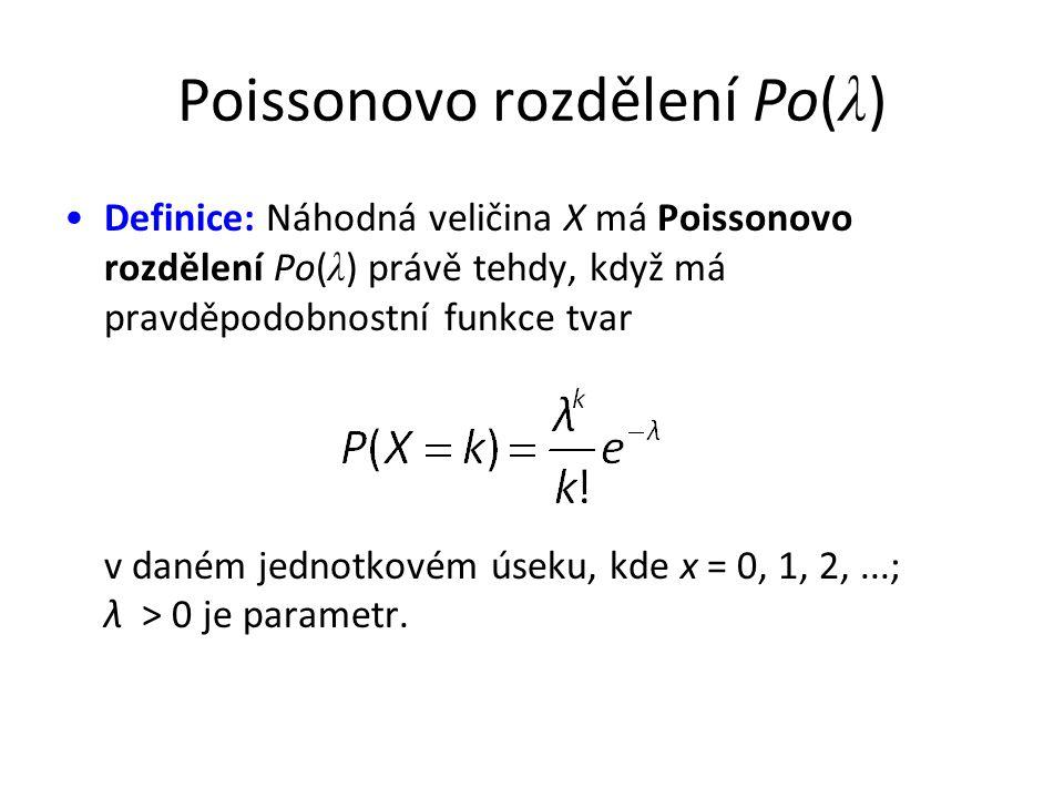 Poissonovo rozdělení Po( λ ) •Definice: Náhodná veličina X má Poissonovo rozdělení Po( λ ) právě tehdy, když má pravděpodobnostní funkce tvar v daném jednotkovém úseku, kde x = 0, 1, 2,...; λ > 0 je parametr.