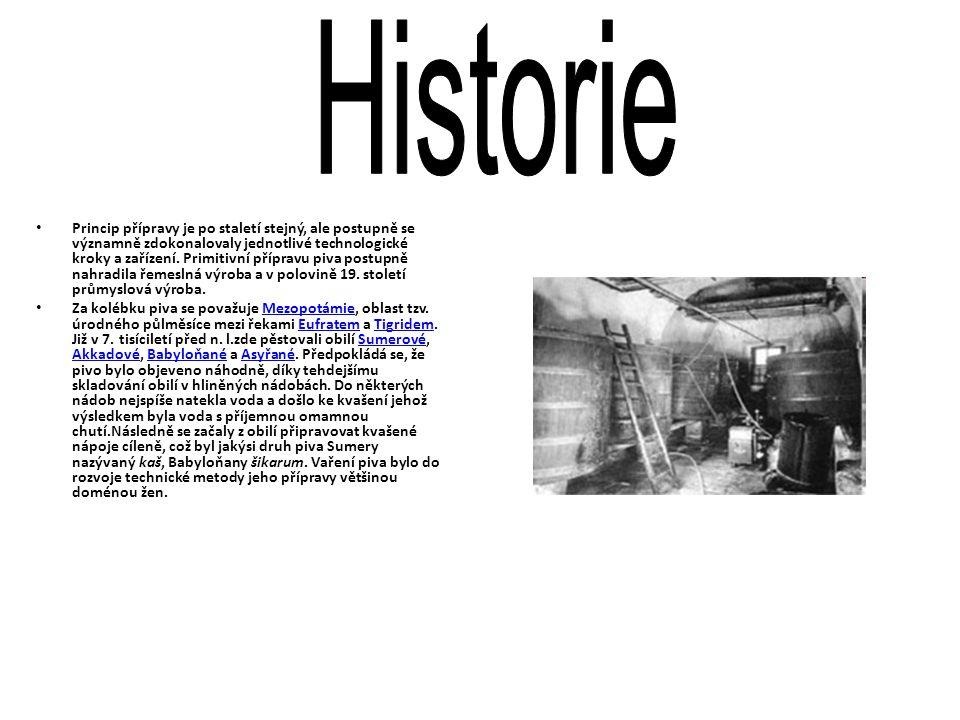 • Princip přípravy je po staletí stejný, ale postupně se významně zdokonalovaly jednotlivé technologické kroky a zařízení. Primitivní přípravu piva po