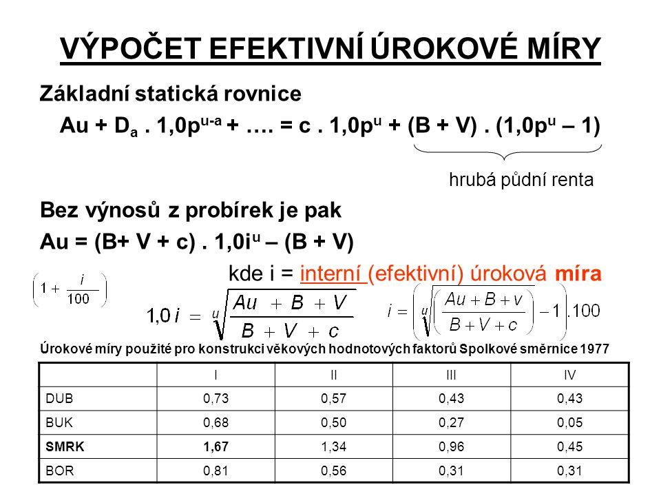 VÝPOČET EFEKTIVNÍ ÚROKOVÉ MÍRY Základní statická rovnice Au + D a. 1,0p u-a + …. = c. 1,0p u + (B + V). (1,0p u – 1) hrubá půdní renta Bez výnosů z pr