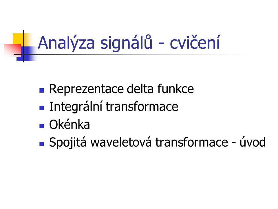 Analýza signálů - cvičení  Reprezentace delta funkce  Integrální transformace  Okénka  Spojitá waveletová transformace - úvod