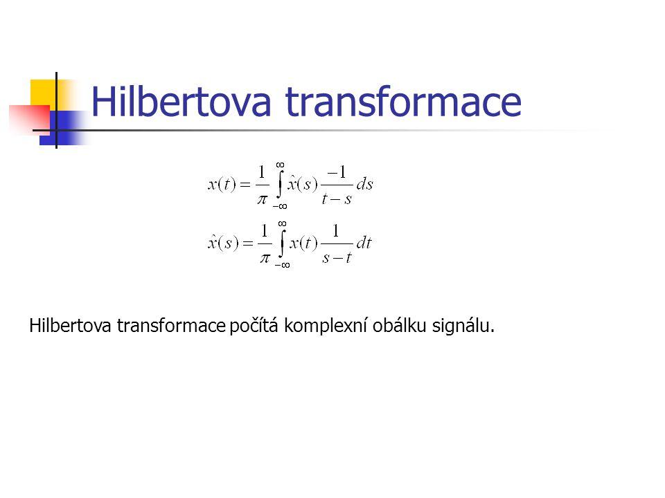 Hilbertova transformace Hilbertova transformace počítá komplexní obálku signálu.