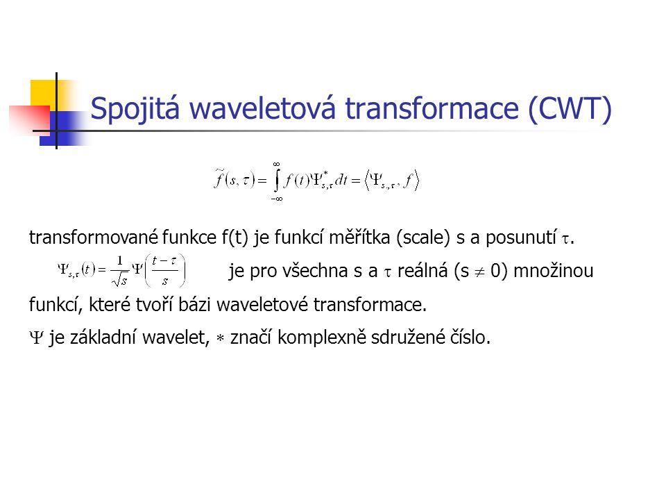 Spojitá waveletová transformace (CWT) transformované funkce f(t) je funkcí měřítka (scale) s a posunutí .