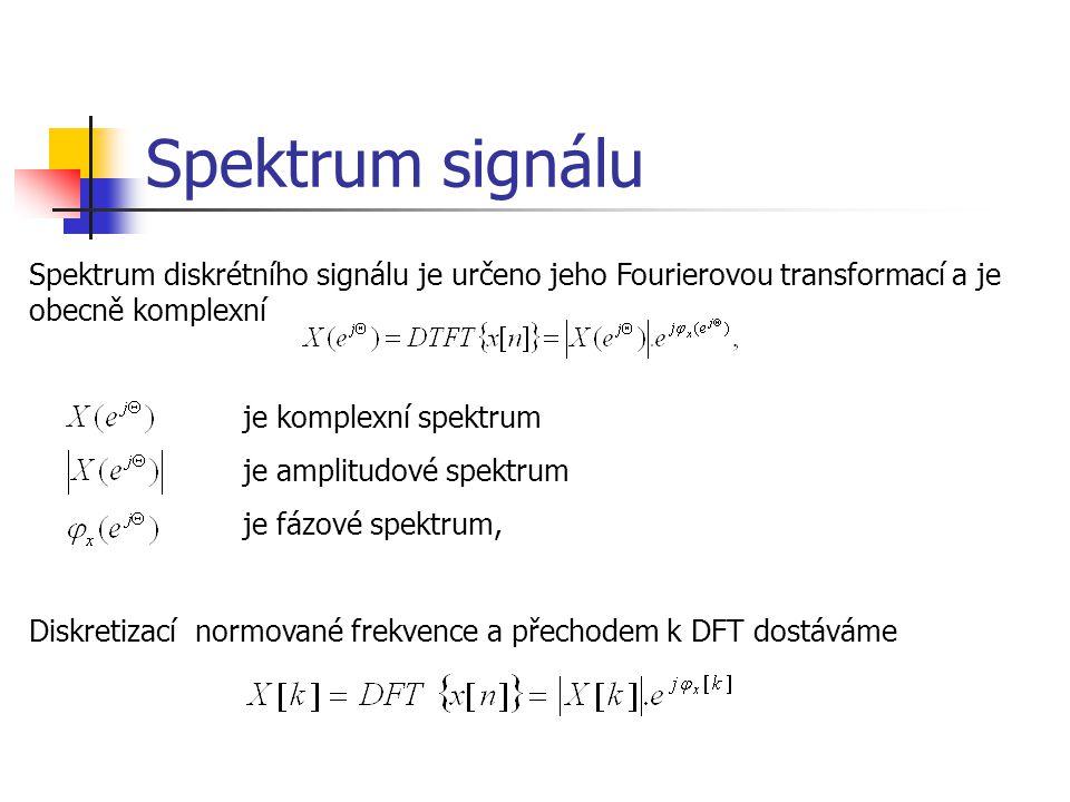 Spektrum signálu Spektrum diskrétního signálu je určeno jeho Fourierovou transformací a je obecně komplexní je komplexní spektrum je amplitudové spektrum je fázové spektrum, Diskretizací normované frekvence a přechodem k DFT dostáváme