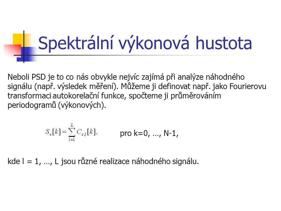 Spektrální výkonová hustota Neboli PSD je to co nás obvykle nejvíc zajímá při analýze náhodného signálu (např.