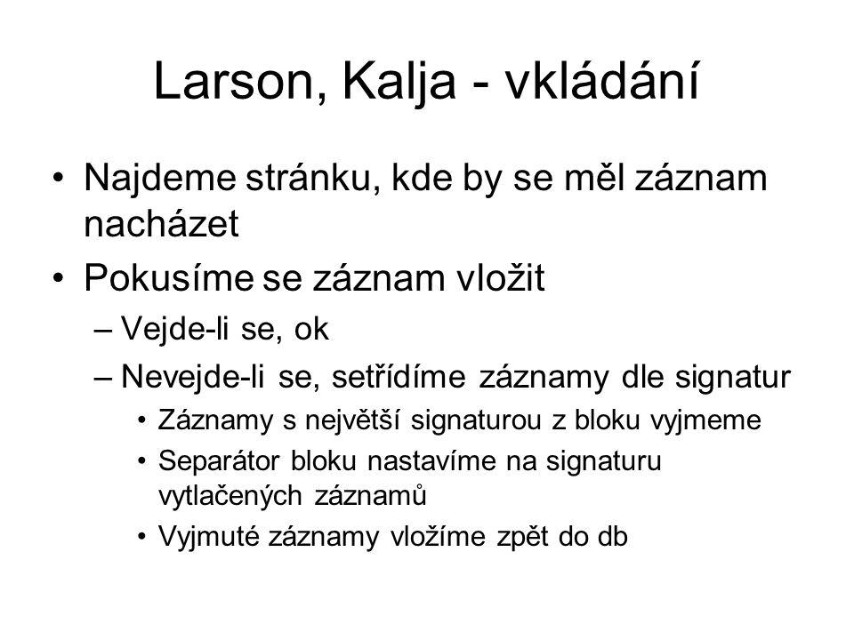 Larson, Kalja - vkládání •Najdeme stránku, kde by se měl záznam nacházet •Pokusíme se záznam vložit –Vejde-li se, ok –Nevejde-li se, setřídíme záznamy