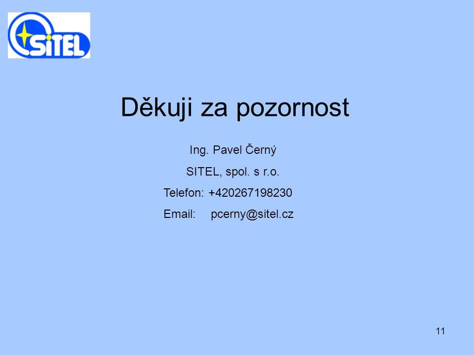11 Ing. Pavel Černý SITEL, spol. s r.o. Telefon: +420267198230 Email: pcerny@sitel.cz Děkuji za pozornost