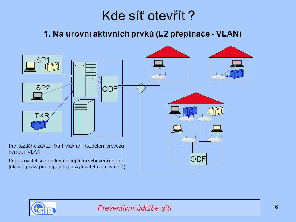 6 ISP1 Kde síť otevřít ? ODF 1. Na úrovni aktivních prvků (L2 přepínače - VLAN) ODF ISP2 TKR Pro každého zákazníka 1 vlákno – rozdělení provozu pomocí