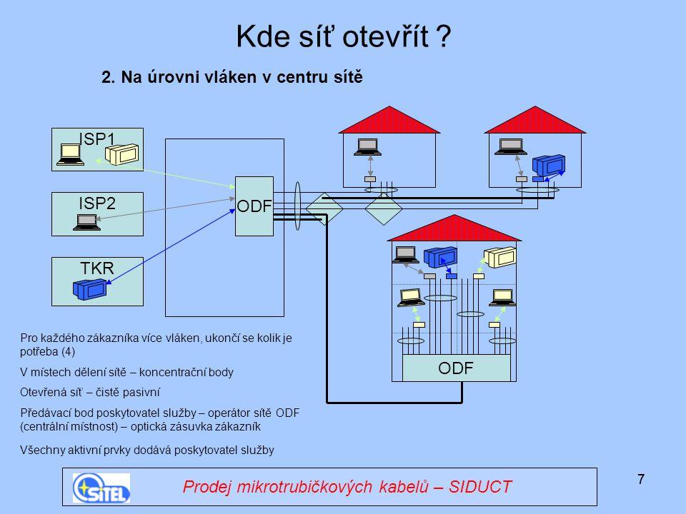 77 ISP1 Kde síť otevřít ? ODF 2. Na úrovni vláken v centru sítě ODF ISP2 TKR Pro každého zákazníka více vláken, ukončí se kolik je potřeba (4) V míste