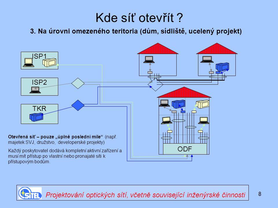 """8 ISP1 Kde síť otevřít ? ODF ISP2 TKR Otevřená síť – pouze """"úplně poslední míle"""" (např. majetek SVJ, družstvo, developerské projekty) Každý poskytovat"""
