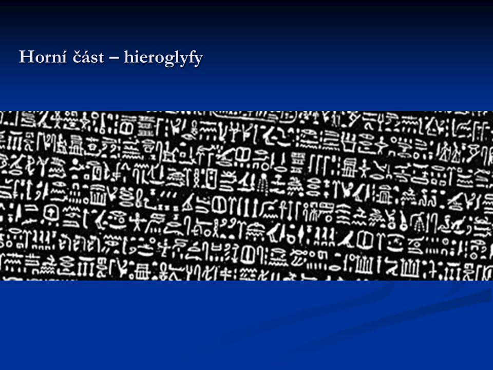  Na Rosettské desce se zachovalo celkem 1419 hieroglyfů, kterým odpovídá 486 řeckých slov; tj.