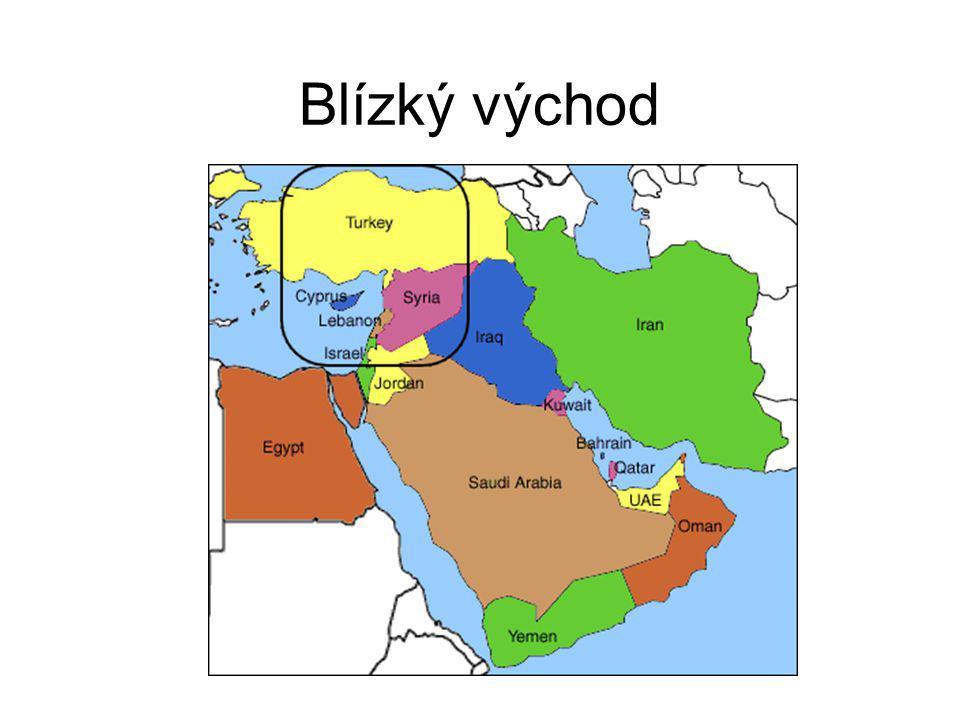 Mezi země Blízkého východu patří: 1.Turecko 2.Kypr(ostrov) 3.Sýrie 4.Izrael 5.Jordánsko (Celsova knihovna ve městě Efesu,Turecko) (Hrad Krak des Chevaliers,Sýrie)