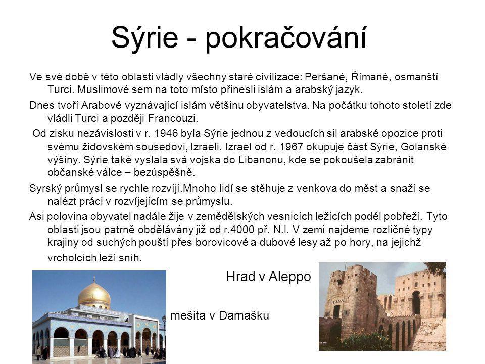 Sýrie - pokračování Ve své době v této oblasti vládly všechny staré civilizace: Peršané, Římané, osmanští Turci. Muslimové sem na toto místo přinesli