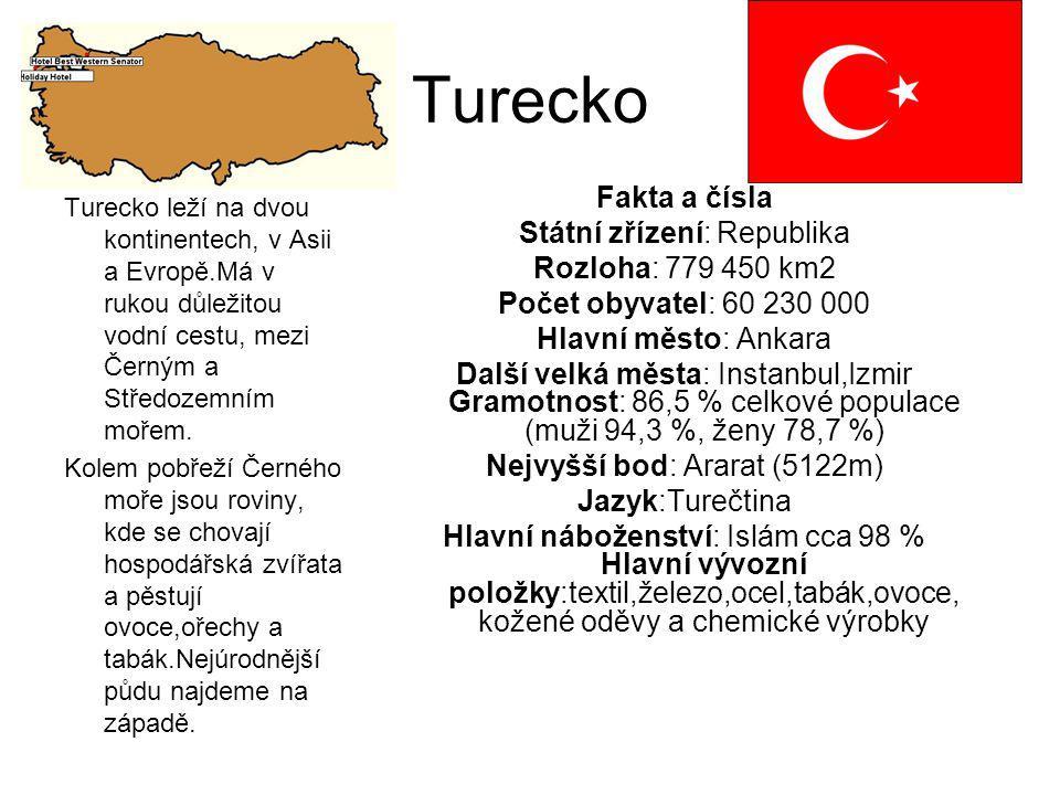 Turecko Turecko leží na dvou kontinentech, v Asii a Evropě.Má v rukou důležitou vodní cestu, mezi Černým a Středozemním mořem. Kolem pobřeží Černého m