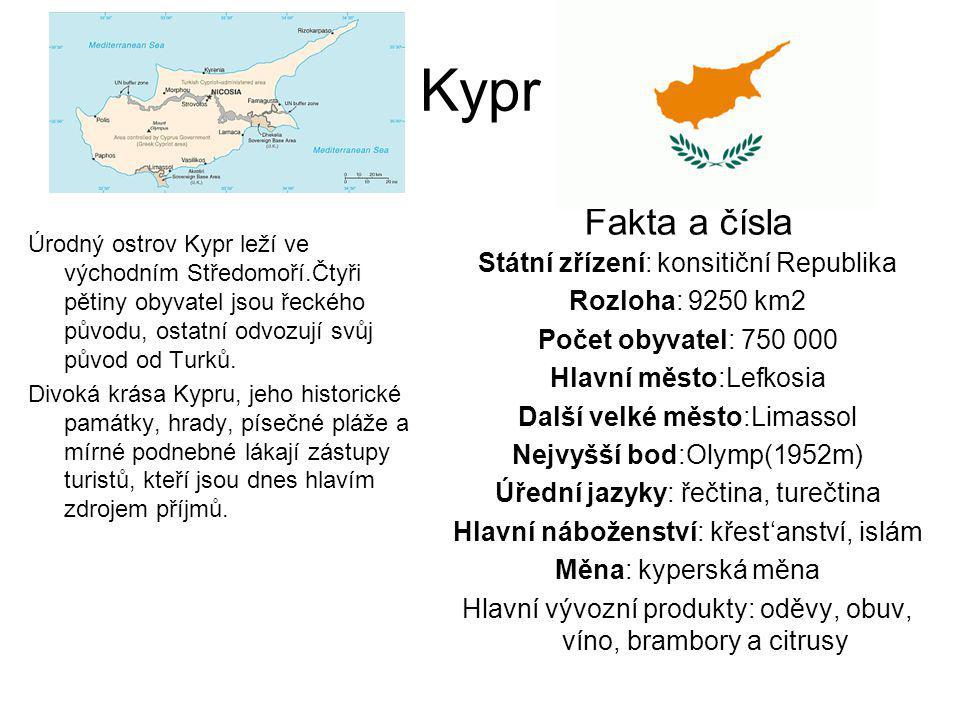 Kypr Úrodný ostrov Kypr leží ve východním Středomoří.Čtyři pětiny obyvatel jsou řeckého původu, ostatní odvozují svůj původ od Turků. Divoká krása Kyp