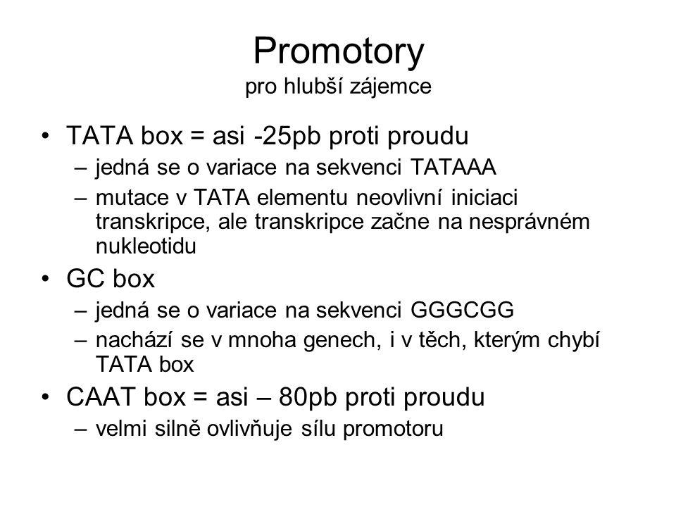 Promotory pro hlubší zájemce •TATA box = asi -25pb proti proudu –jedná se o variace na sekvenci TATAAA –mutace v TATA elementu neovlivní iniciaci transkripce, ale transkripce začne na nesprávném nukleotidu •GC box –jedná se o variace na sekvenci GGGCGG –nachází se v mnoha genech, i v těch, kterým chybí TATA box •CAAT box = asi – 80pb proti proudu –velmi silně ovlivňuje sílu promotoru