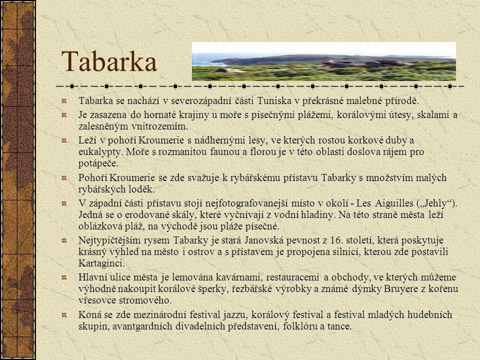 Tabarka Tabarka se nachází v severozápadní části Tuniska v překrásné malebné přírodě.