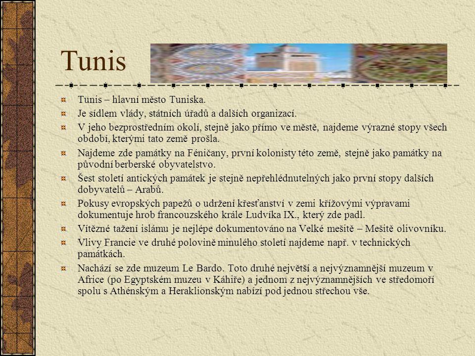 Tunis Tunis – hlavní město Tuniska.Je sídlem vlády, státních úřadů a dalších organizací.