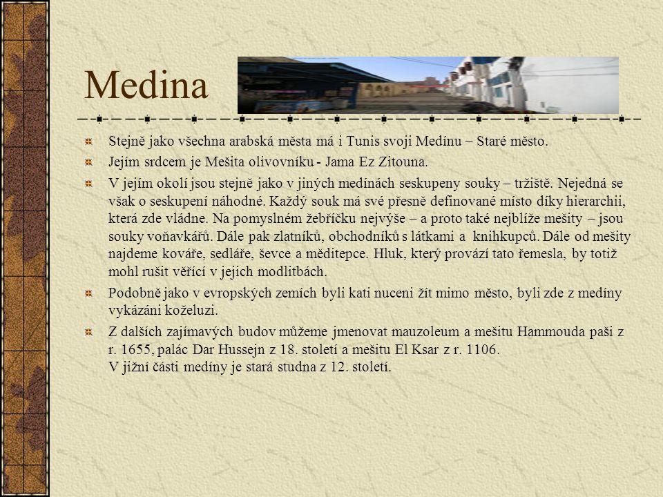 Medina Stejně jako všechna arabská města má i Tunis svoji Medínu – Staré město.