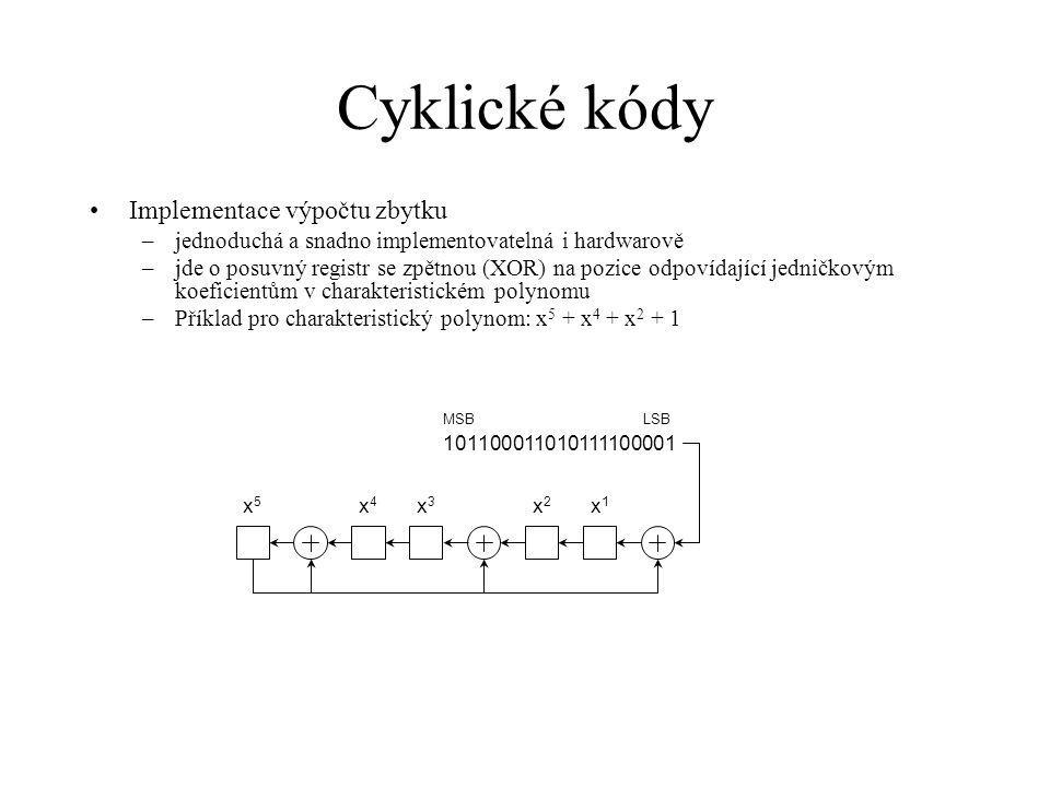 Cyklické kódy •Implementace výpočtu zbytku –jednoduchá a snadno implementovatelná i hardwarově –jde o posuvný registr se zpětnou (XOR) na pozice odpovídající jedničkovým koeficientům v charakteristickém polynomu –Příklad pro charakteristický polynom: x 5 + x 4 + x 2 + 1 101100011010111100001 x5x5 x4x4 x3x3 x2x2 x1x1 MSBLSB