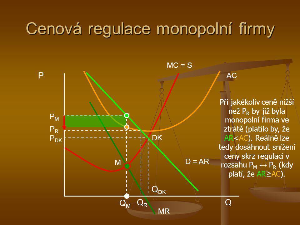 Cenová regulace monopolní firmy QMQM MC = S AC MR D = AR DK PMPM P DK Q DK P Q M PRPR QRQR Při jakékoliv ceně nižší než P R by již byla monopolní firm