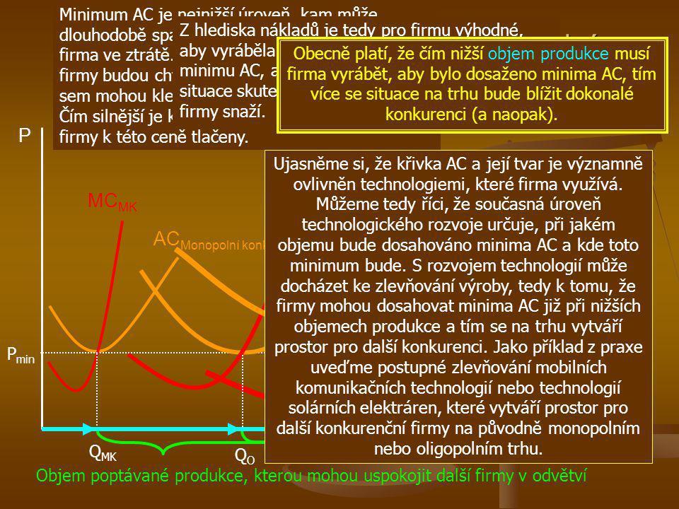 AC Monopolní konkurence Prostředí vyvolávající vznik monopolní konkurence, oligopolu a monopolu P Q MC MK D Q odvětví MC O MC M AC Oligopolu AC Monopo