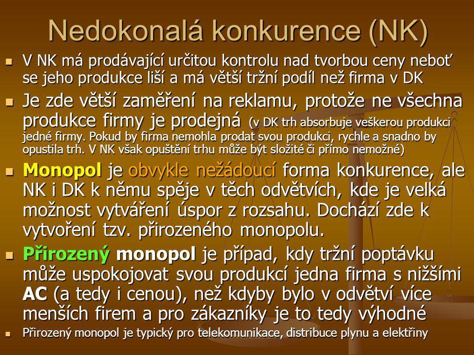 Nedokonalá konkurence (NK)  V NK má prodávající určitou kontrolu nad tvorbou ceny neboť se jeho produkce liší a má větší tržní podíl než firma v DK 